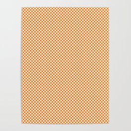Bright Orange Russet and White Mini Check 2018 Color Trends Poster