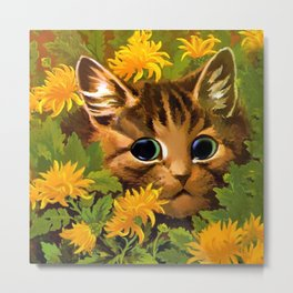 """Louis Wain's Cats """"Tabby in the Marigolds"""" Metal Print"""