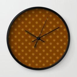 Amber Orange on Chocolate Brown Snowflakes Wall Clock