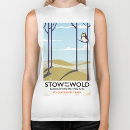 stow on the wold vintage travel poster Biker Tank