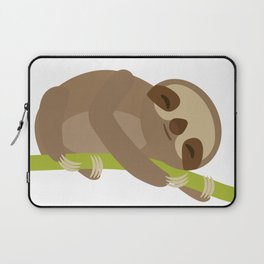 funny and cute Three-toed sloth on green branch Laptop Sleeve