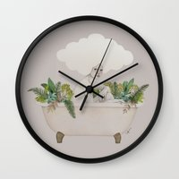 hydra Wall Clocks featuring Hydra by Sofia Bonati