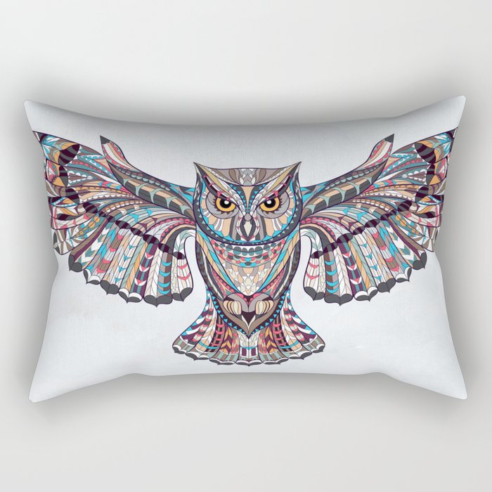 Colorful Ethnic Owl Rectangular Pillow