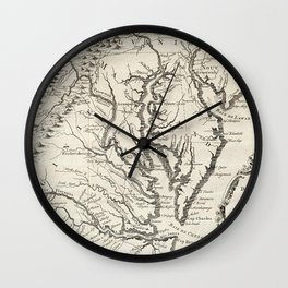 Vintage Map of The Chesapeake Bay (1780) Wall Clock