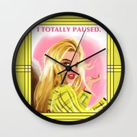 clueless Wall Clocks featuring I Totally Paused - CLUELESS by Dylan Bonner