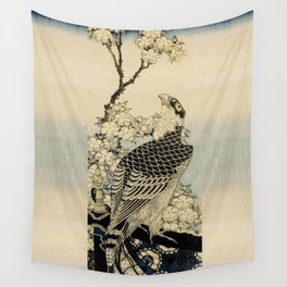 Hokusai -falcon next to a plum tree in bloom - 葛飾 北斎,hawk,bird. Wall Tapestry