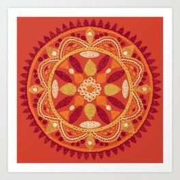 Jaipur Medallion Saffron Art Print