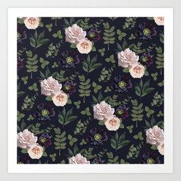 Pressed Floral Plum Art Print