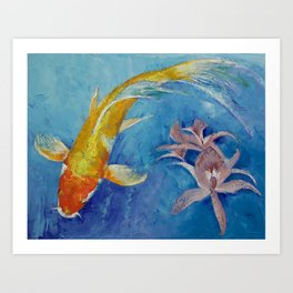 Butterfly Koi with Orchids Art Print