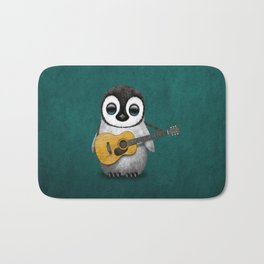 Musical Baby Penguin Playing Acoustic Guitar on Teal Blue Bath Mat