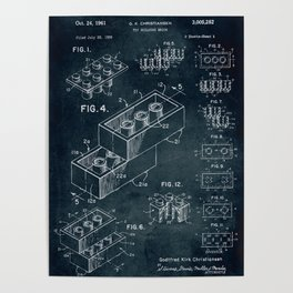 1958 Toy Building Brick patent art Poster