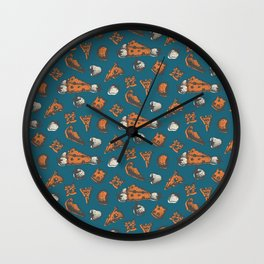 Retro colored cheese&strawberry pattern Wall Clock