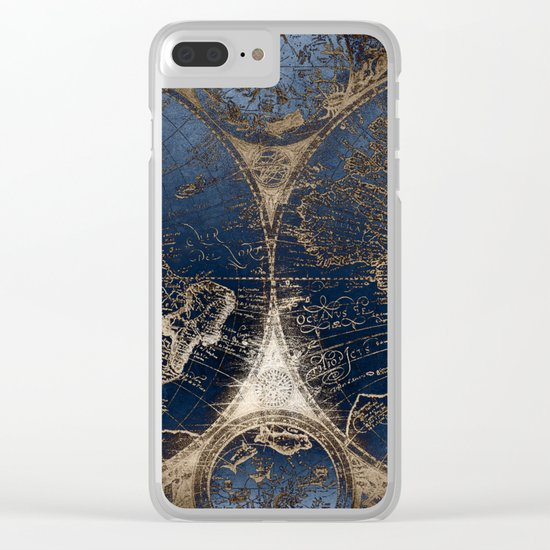 World Map Deep Blue and Gold Clear iPhone Case