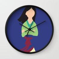 mulan Wall Clocks featuring Mulan by Adrian Mentus