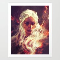 daenerys Art Prints featuring Fireheart by Alice X. Zhang