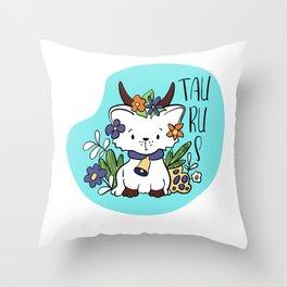 Taurus Zodiac Sign. Cute Cat Zodiac. Astrological sign Taurus Throw Pillow