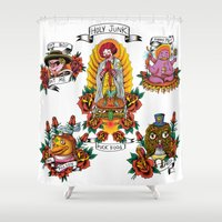 junk food Shower Curtains featuring Holy Junk by ERROR Design