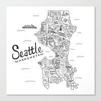 seattle Canvas Prints featuring Seattle Map by Claire Lordon