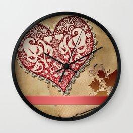 Openwork lace heart . Vintage Irish lace . Wall Clock