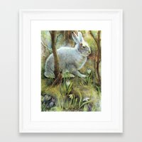 hare Framed Art Prints featuring Hare by Natalie Berman