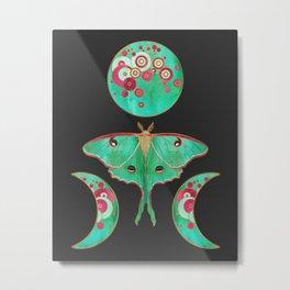 Luna Moth and Triple Moon Metal Print