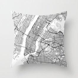 New York City Neutral Map Art Print Throw Pillow