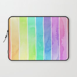 Watercolor Rainbow Stripes in Ombre Summer Pastels Laptop Sleeve