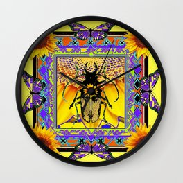 Black-Purple Stag horn Beetle Butterflies  Sunflower Yellow Design. Wall Clock