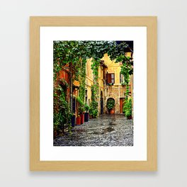 Vintage street in Rome, after Rain Framed Art Print