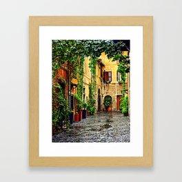 Vintage street in Rome, after Rain Framed Art Print