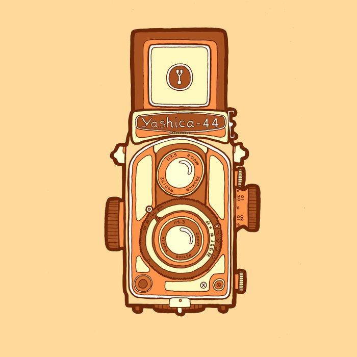Vintage camera orange Duvet Cover