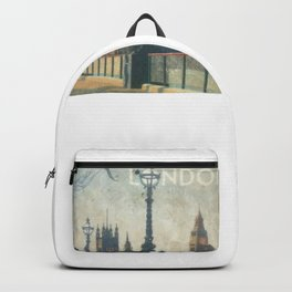 London Vintage skyline view of Westminster Abbey and Big Ben, painting from Victorian era Backpack