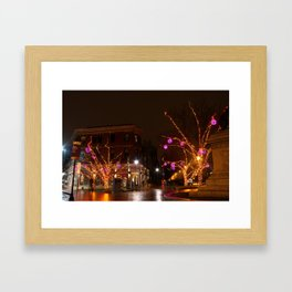 Portland City Winter Lights Framed Art Print