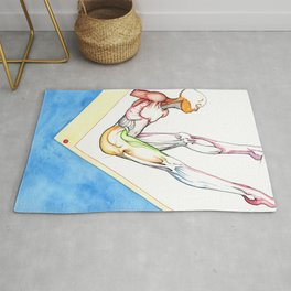 Long, male ballerina anatomy, NYC artist Rug