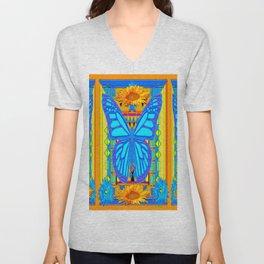 Blue Butterflies Gold Floral Deco Art Unisex V-Neck
