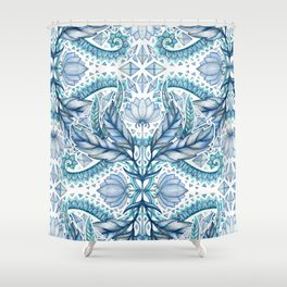 Lily, Leaf & Triangle Pattern – blues Shower Curtain