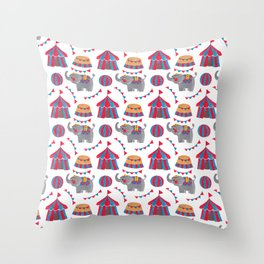 Colorful red blue gray watercolor elephant circus pattern Throw Pillow