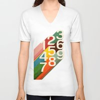 retro V-neck T-shirts featuring Retro Numbers by Picomodi
