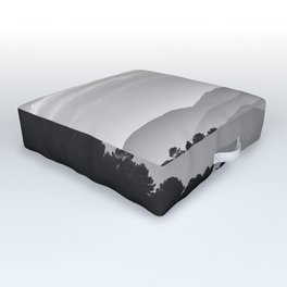 Misty Mountains. Yesterday At Sunset. Square Outdoor Floor Cushion