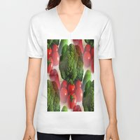 vegetables V-neck T-shirts featuring Healthy Vegetables by Art-Motiva