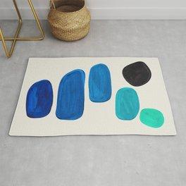 Mid Century Modern Retro Minimalist Colorful Shapes Phthalo Blue Marine Green Gradient Pebbles Rug