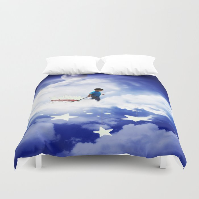 Star Boy Pulling Little Red Wagon Duvet Cover