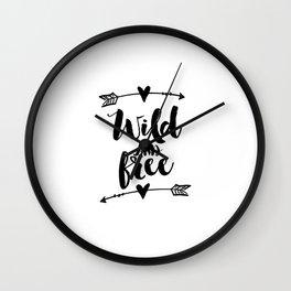 Inspirational Quote Home Decor PRINTABLE ART Nursery Poster Wild And Free Arrow Wall Decor Arrow Wall Clock