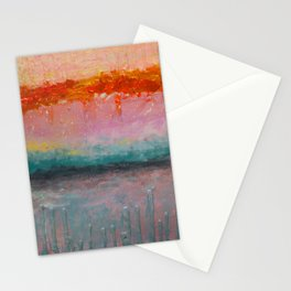 Fire Sunset vibrant mixed media abstract seascape Stationery Cards