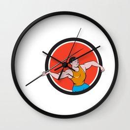 Javelin Throw Track and Field Circle Cartoon Wall Clock