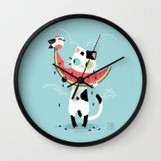 Watermelon Cat Wall Clock