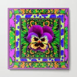 Modern Purple Pansy Organic Green Art Metal Print