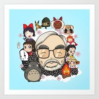 hayao miyazaki Art Prints featuring Ghibli, Hayao Miyazaki and friends by KickPunch