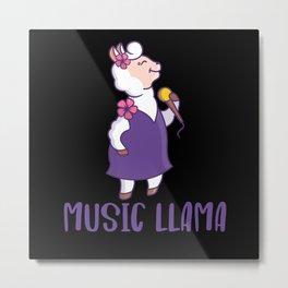 llama Music Alpaca Lover Metal Print