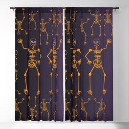 Halloween Skeleton Orange Blackout Curtain
